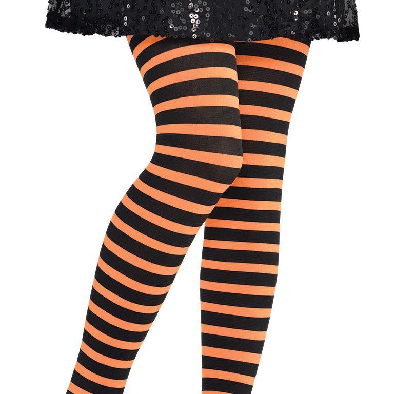 Collants enfants sorciere halloween deguisement costume  accessoire rayé collant