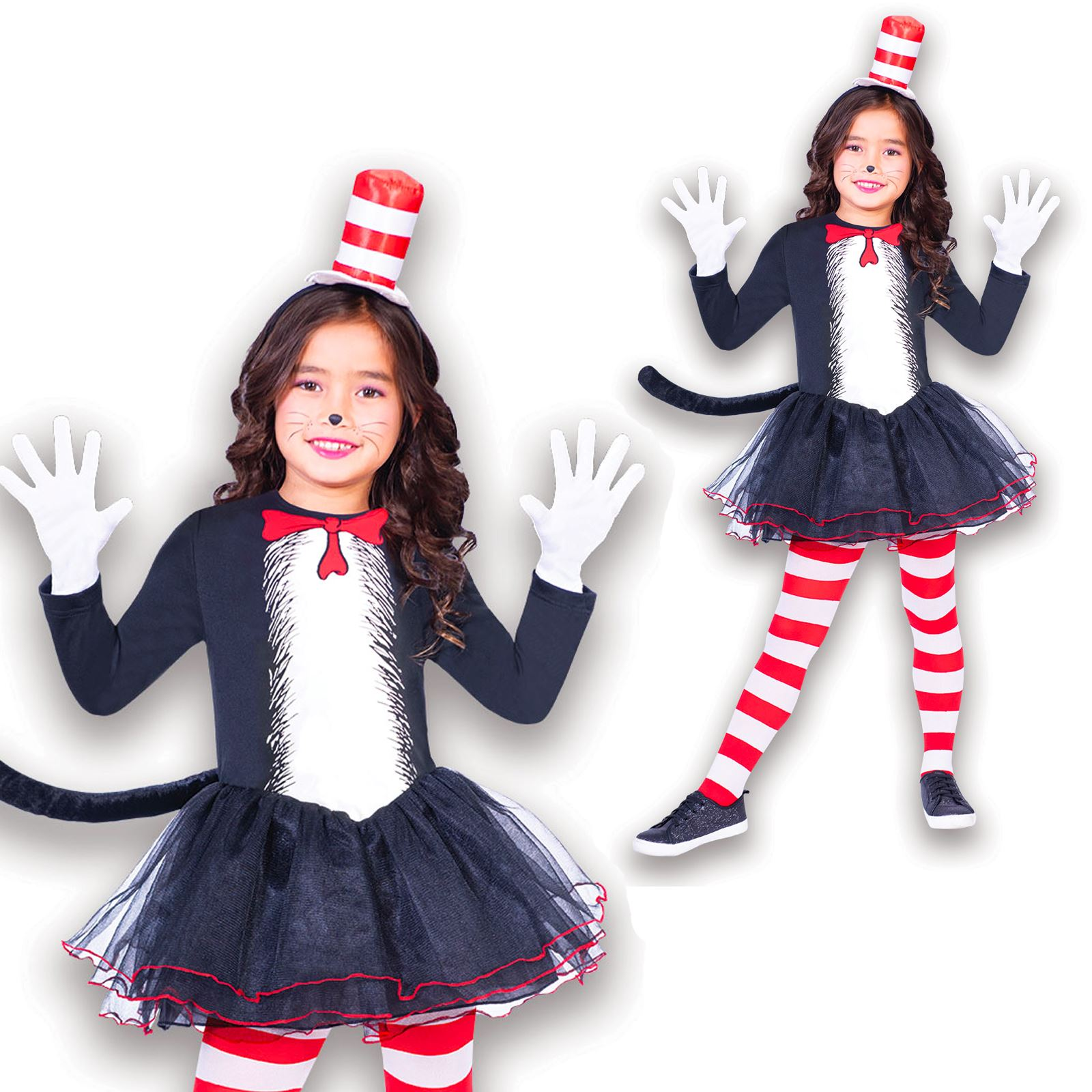 Girls Official Cat In The Hat Tutu Dr Seuss Book Day Fancy Dress Costume Outfit