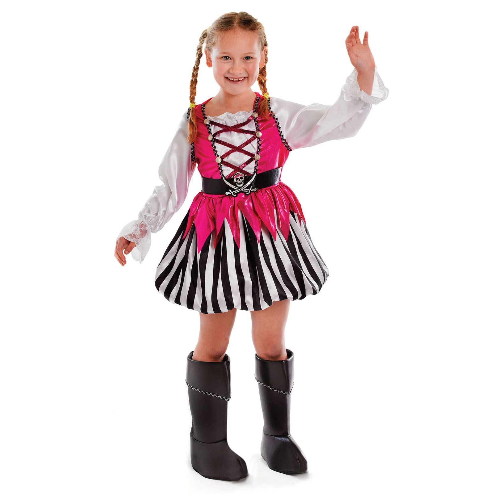 Girls Pink Pirate Costume Childs Buccaneer Fancy Dress Book Week Day Age 4-12