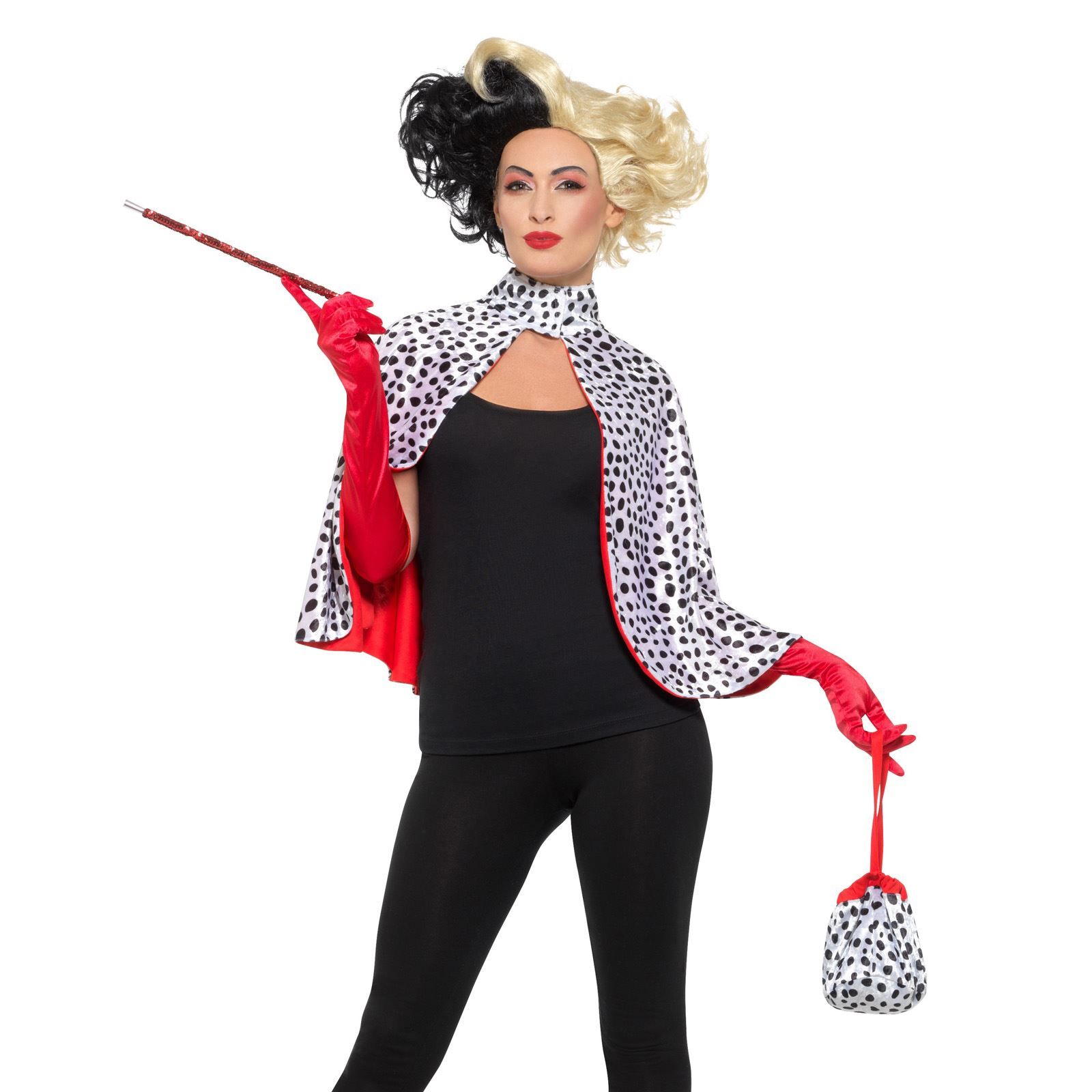 ladies cruella de vil evil madame cape costume book week fancy dress kit wig 5056212011544 ebay. Black Bedroom Furniture Sets. Home Design Ideas