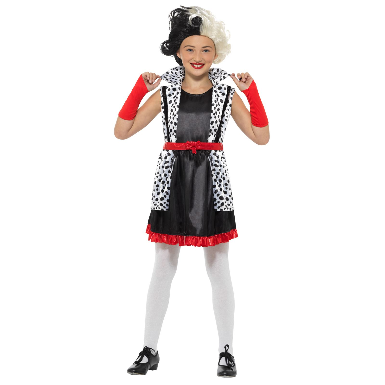 Girls Dalmation Spotted Tights Evil Madam Dress Up Fancy Dress Book Week