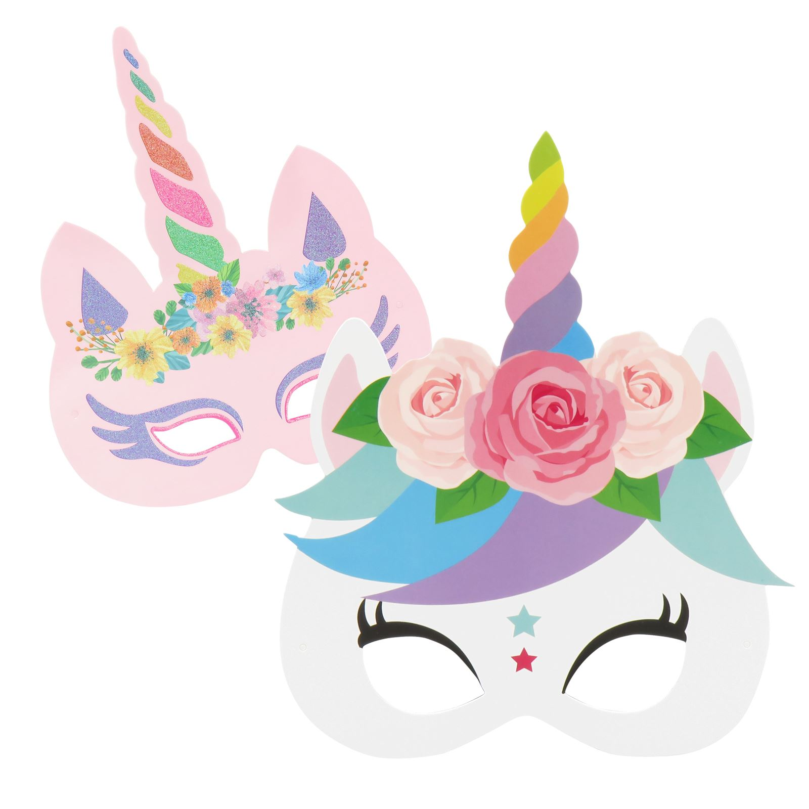 12pc Unicorn Masks Kids Girls Fancy Dress Birthday Party