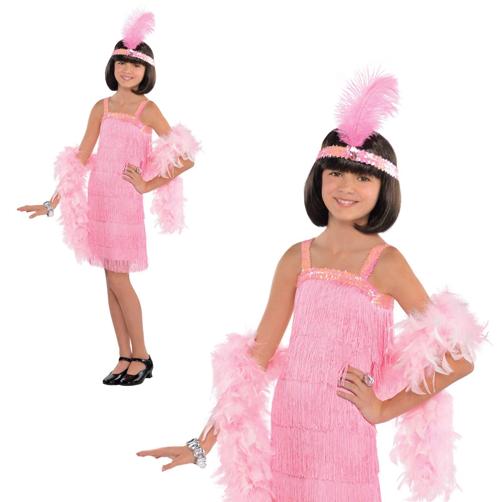 PIUMA BOA Ragazze Costume 1920s Gatsby Costume Per Bambini Vestito Pink Flapper