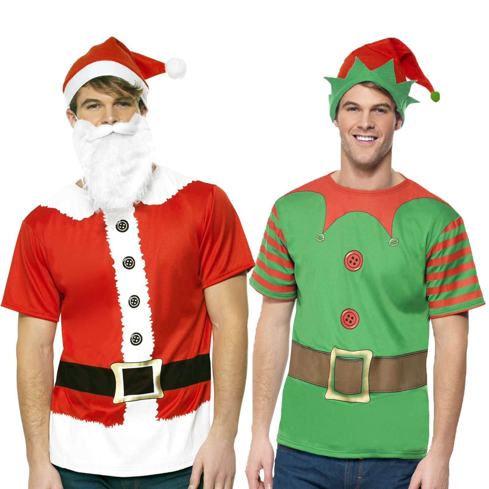 Details about Adult Mens Christmas Elf Santa Claus Instant T Shirt Christmas Costume Kit Easy