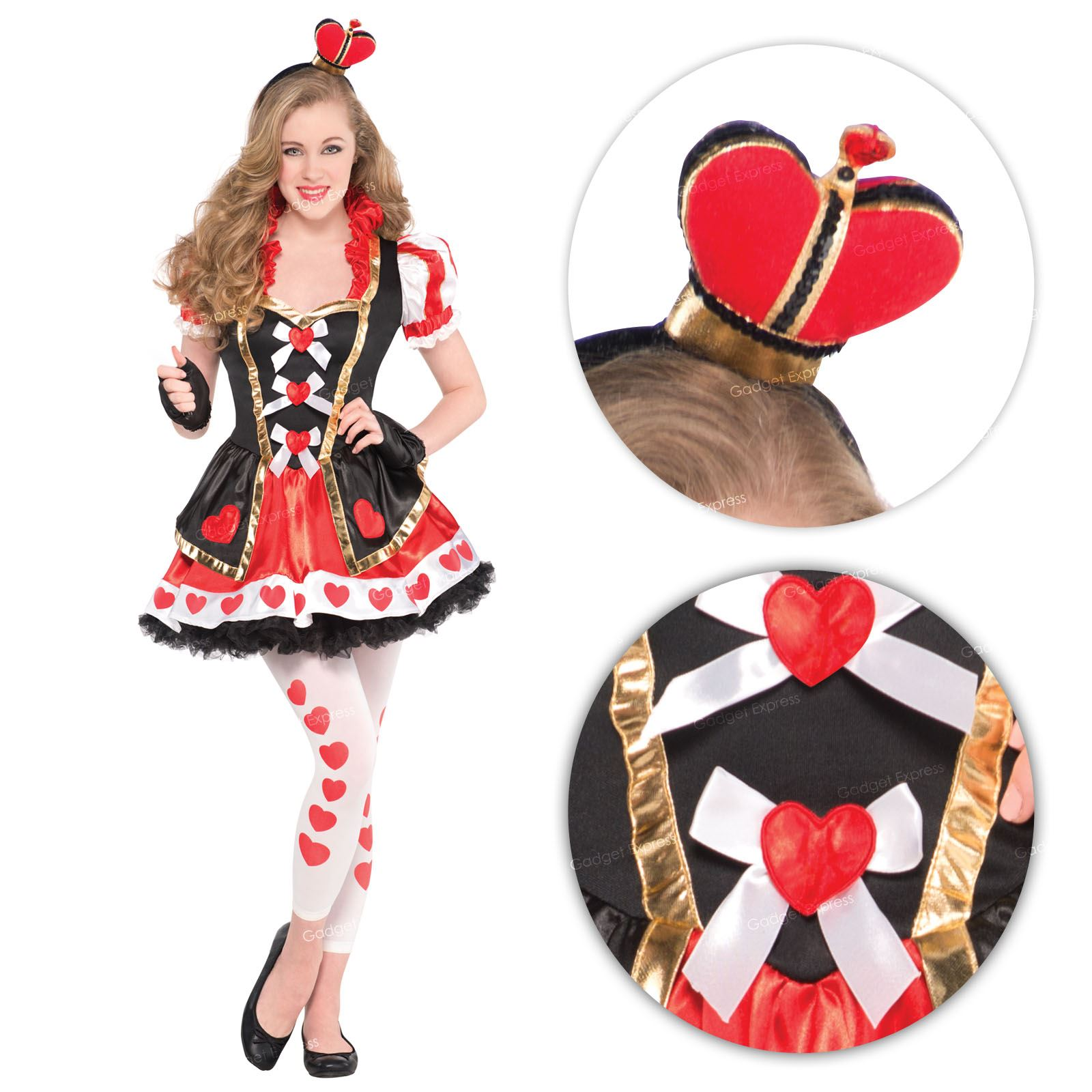 teen girls fairytale queen of hearts fancy dress costume. Black Bedroom Furniture Sets. Home Design Ideas