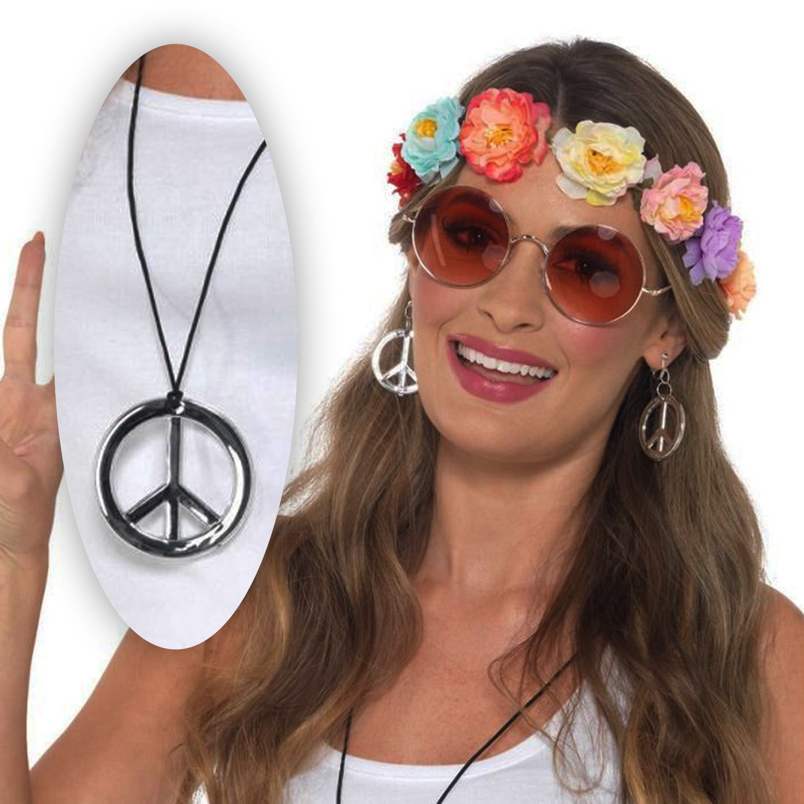 Détails sur Hippie Fille Ensemble Fleur Bandeau Rose Rond Lunettes Paix Collier Boucles