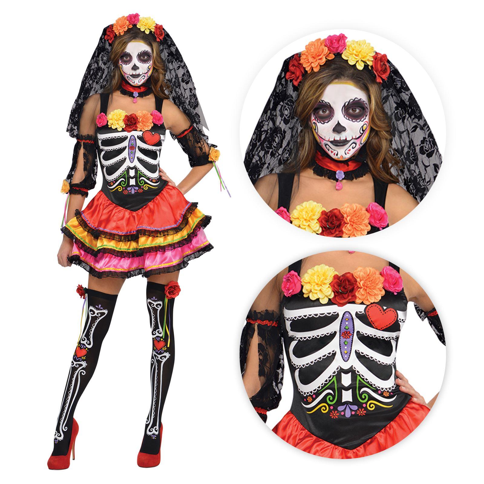 fce805673a04d Details about Ladies Day of the Dead Senorita Sugar Halloween Skeleton  Fancy Dress Costume UK