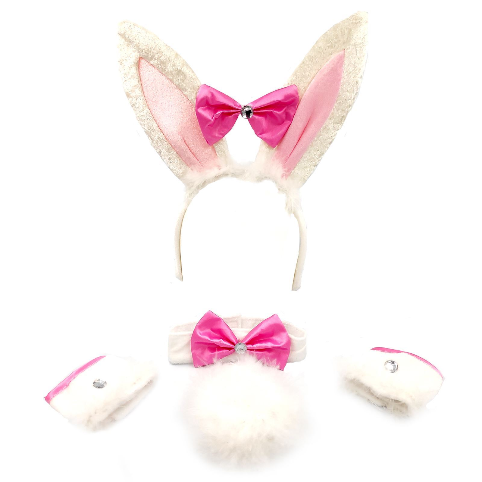 Girls Costume Pink White Fluffy Bunny Dress up Set Hen Night Kids Party Supply