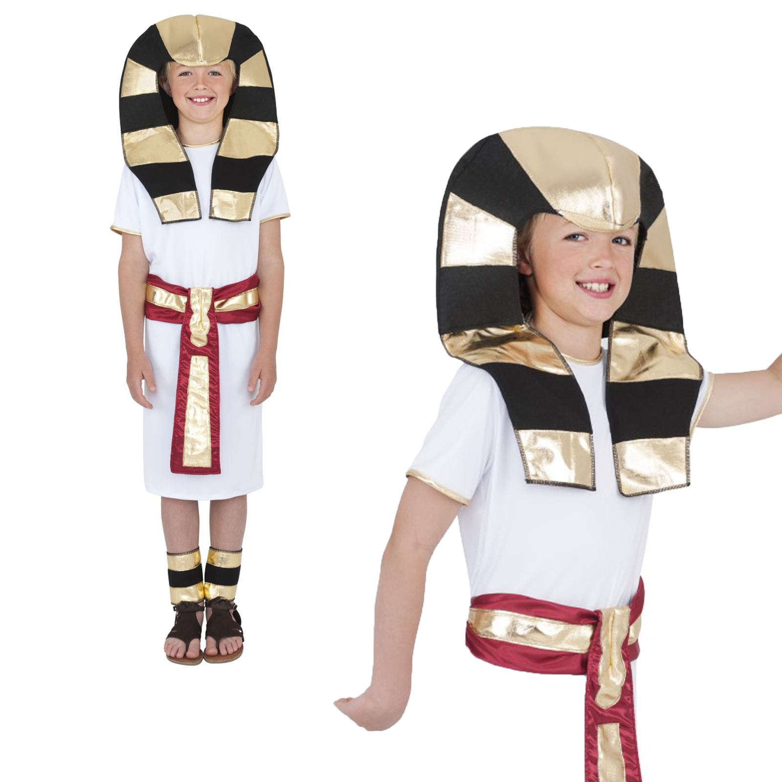 Boys Egyptian Pharaoh Fancy Dress Costume Outfit Egypt Childs Kids Historic 3-10