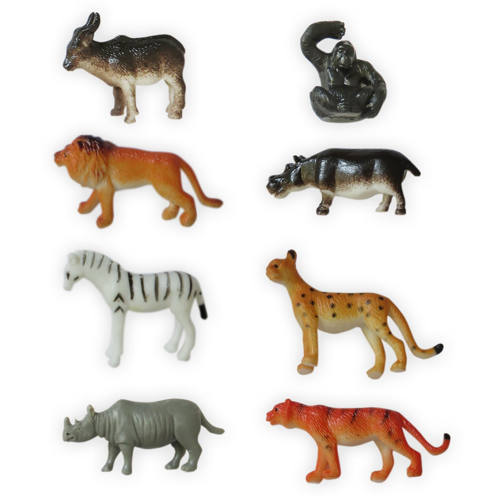 8 Plastic Zoo Figure Jungle Wild Animals Childrens Toys