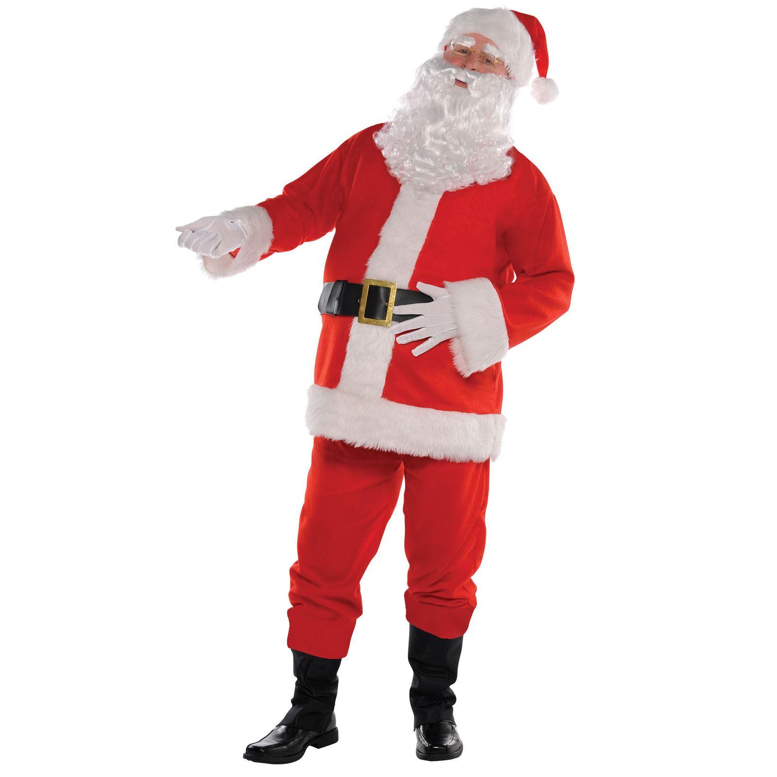 Deluxe Professional Men/'s Santa Claus Father Christmas Suit Fancy Dress Costume