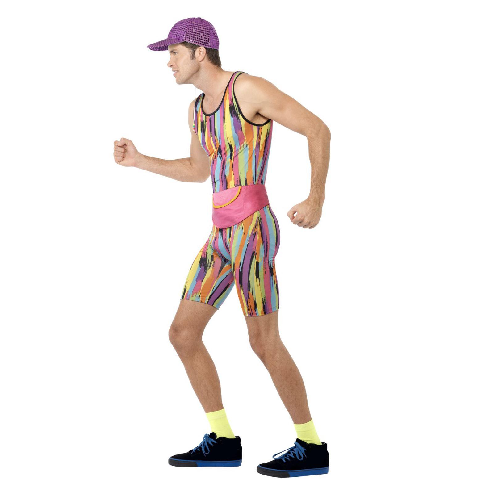 Da Uomo Adulto 80s Istruttore di aerobica fitness motivatrice Costume Vestito