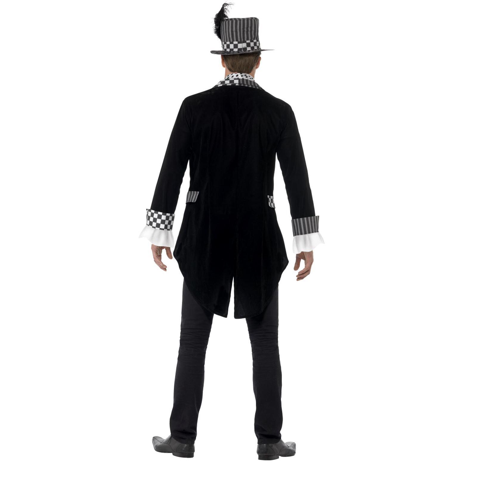 64b361961c Details about Adult Halloween Mens Dark Mad Hatter Tea Party Fancy Dress  Costume Jester Clown