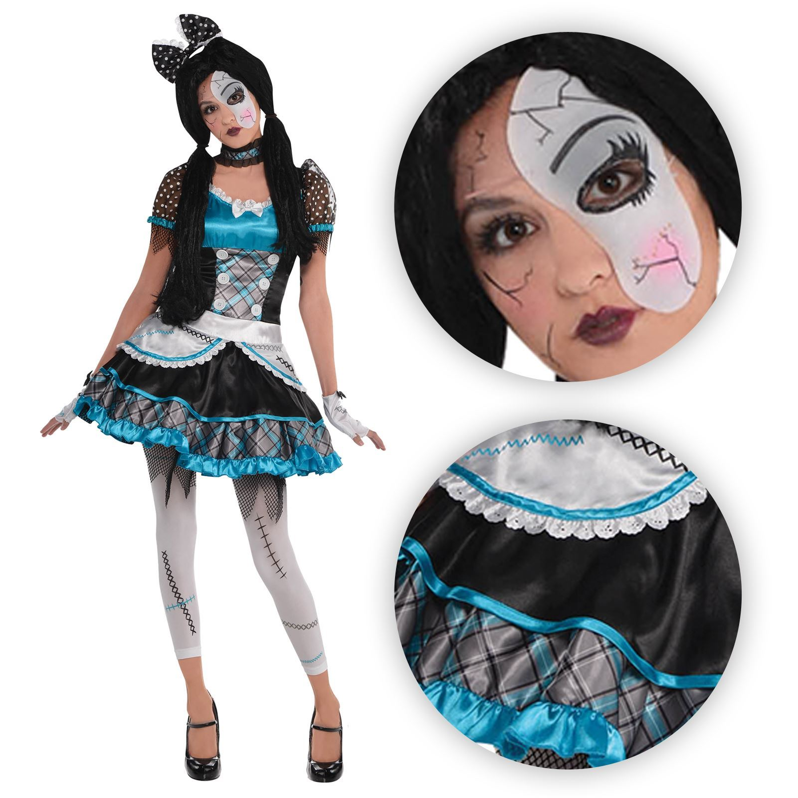 Halloween Costumes For Girls Age 10.Details About Teen Girls Shattered Doll Halloween Costume Broken Bell Zombie Anna Fancy Dress