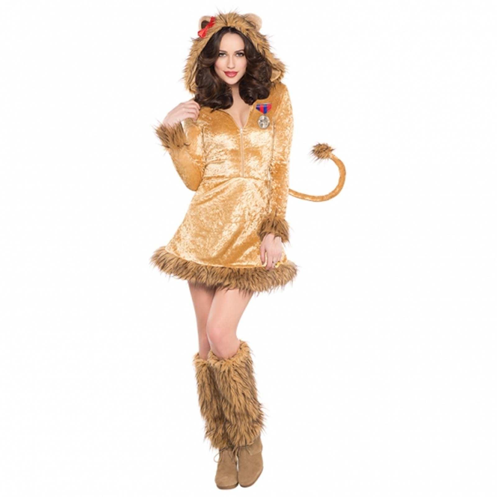 Adult Cowardly Lioness Lion Fancy Dress Wizard Costume Oz Ladies ...