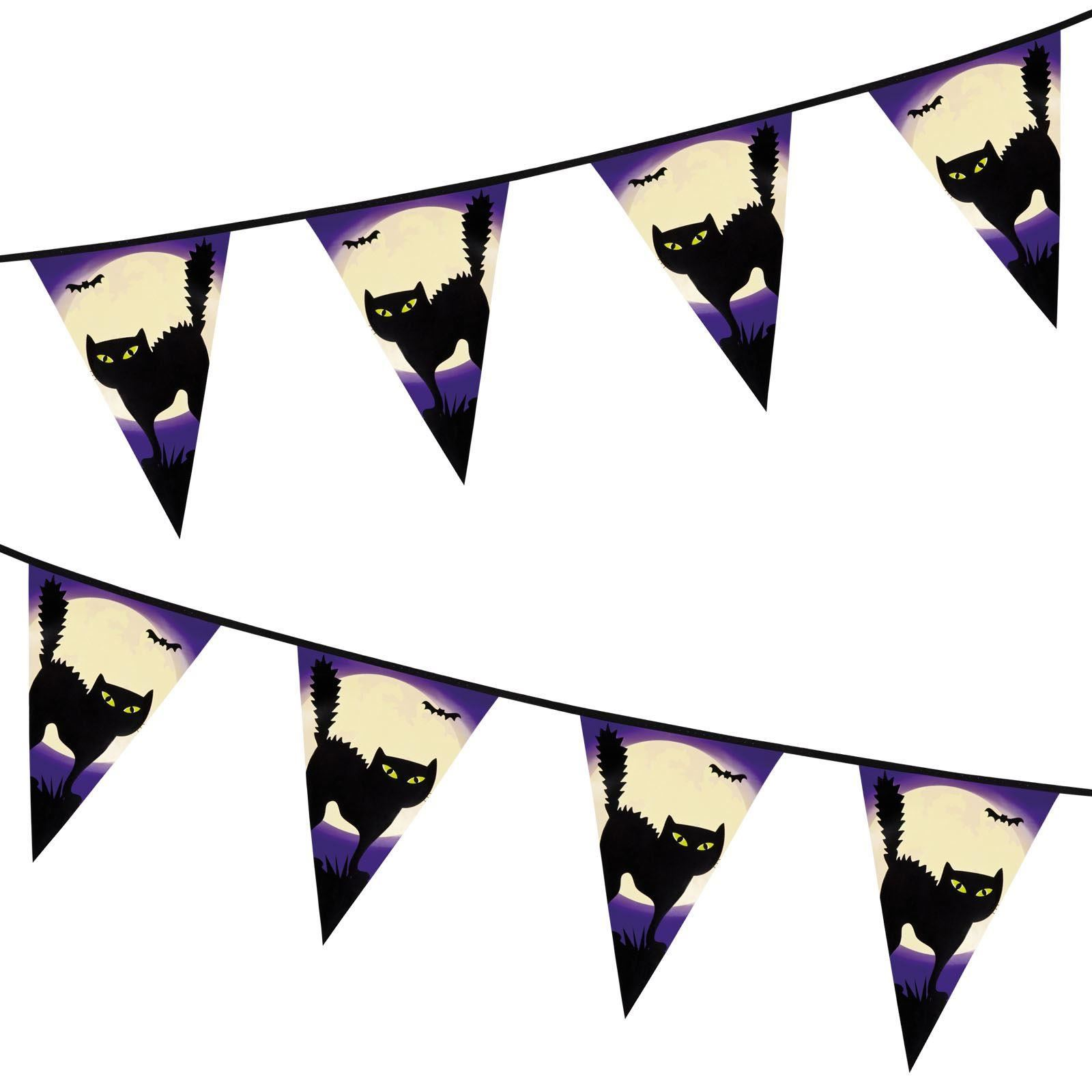 12FT HALLOWEEN BUNTING PUMPKIN BLACK CAT PLASTIC BANNER PARTY DECORATION GARLAND