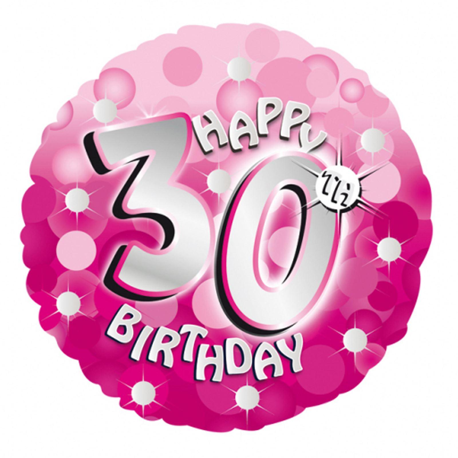 "18"" Pink Sparkling Happy 30th Birthday Girl Age Balloon"