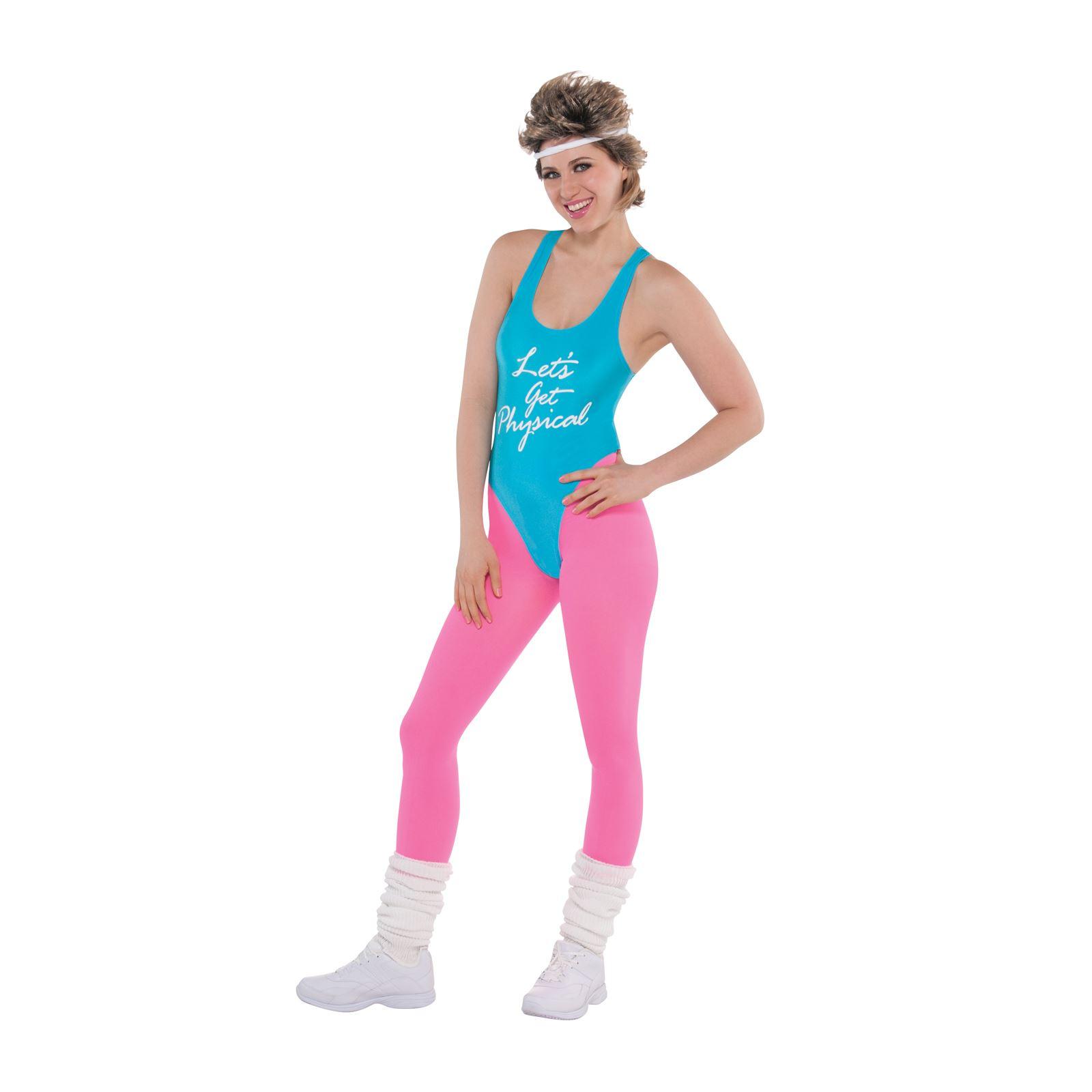 80er Jahre Lets Get Physical Damenkostüm Sport Training Trikot Kostüm Outfit