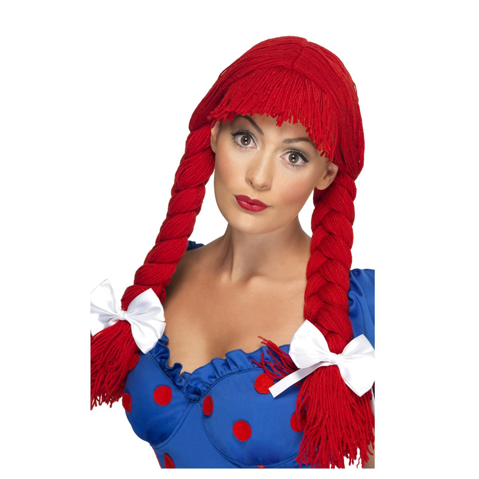 Ladies Red Rag Doll Plaited Wig with White Bows Childhood Toy Cute Fancy Dress