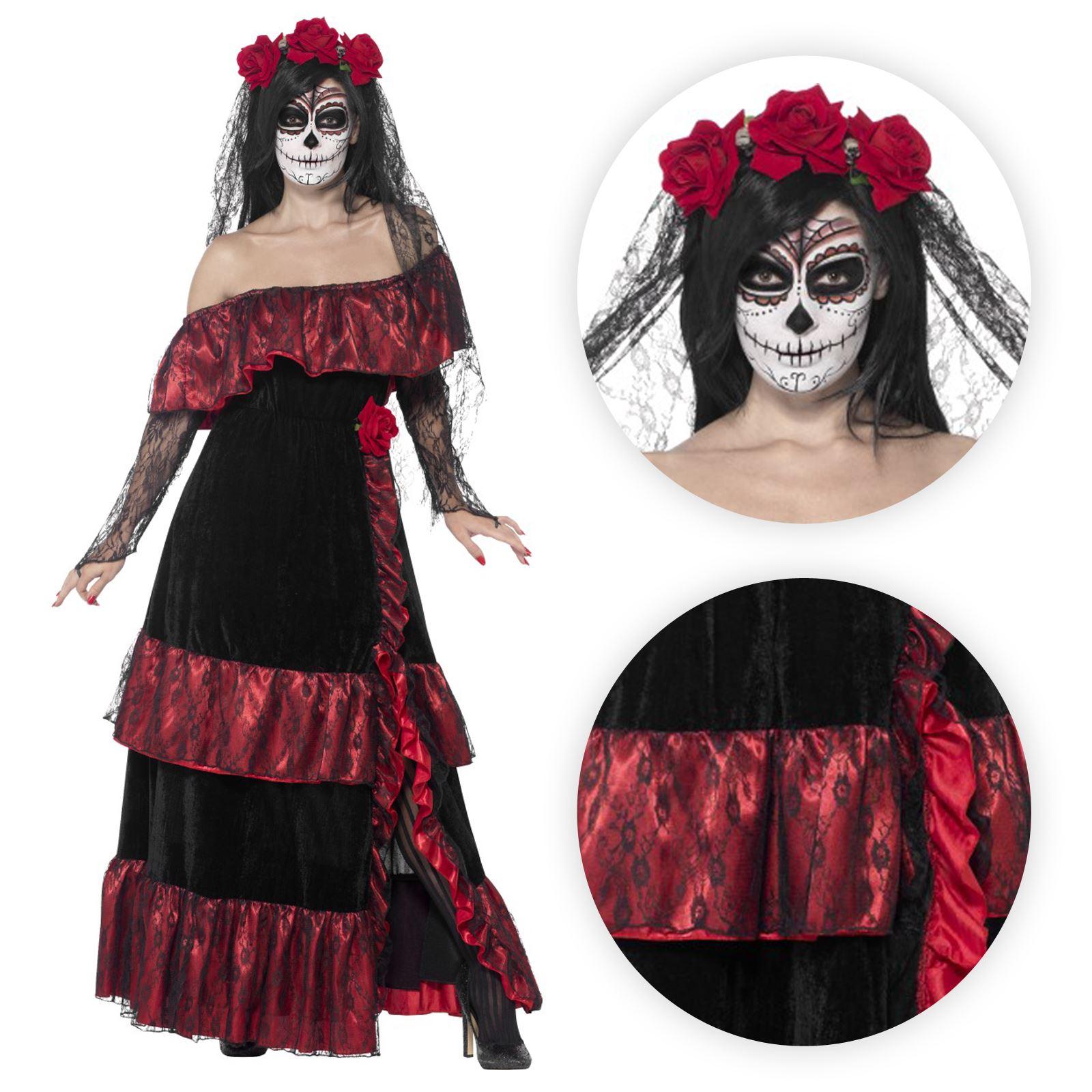 Ladies Day Of The Dead Festival Bride Halloween Fancy Dress Costume