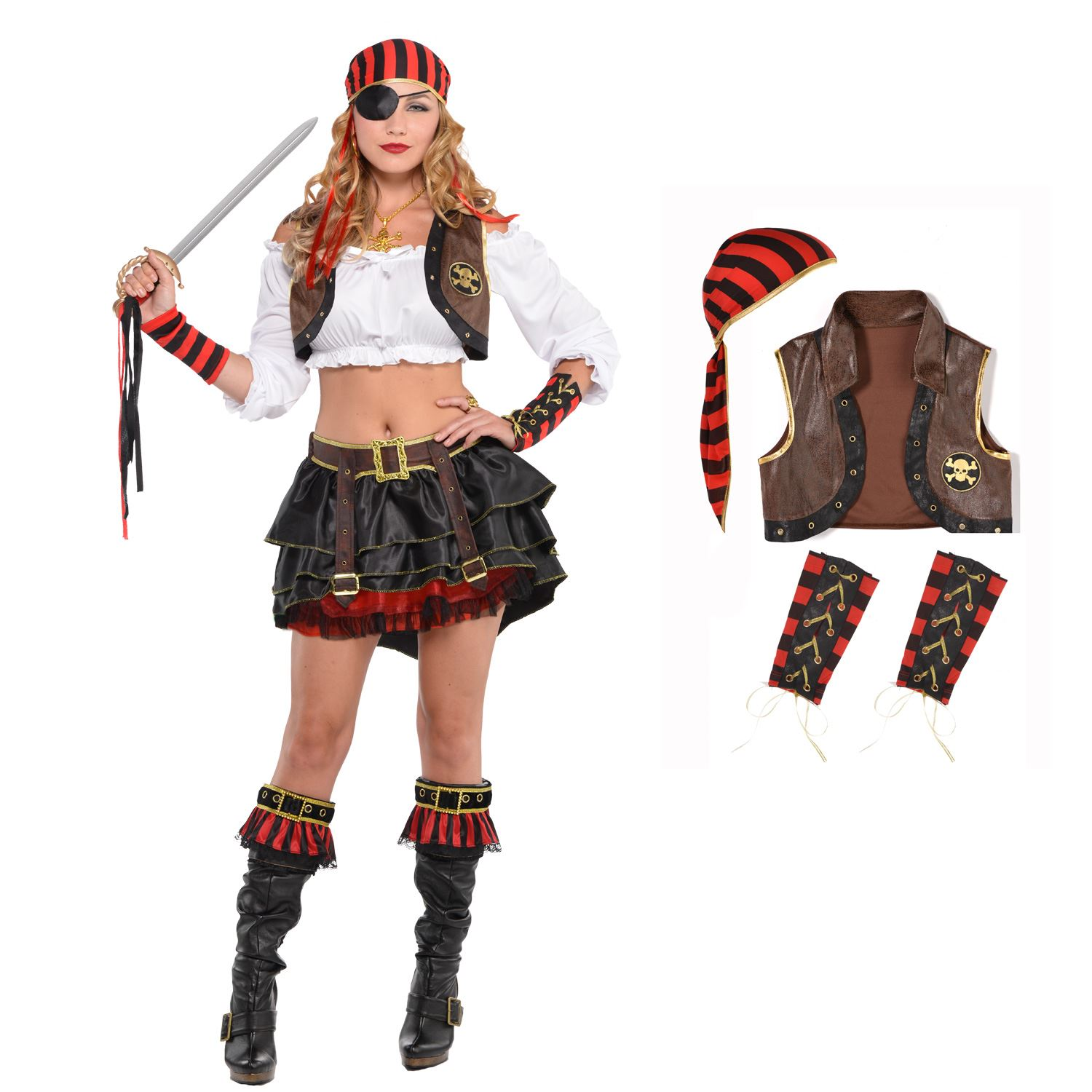 Brand New Pirate Crop Top Blouse Red Adult Costume