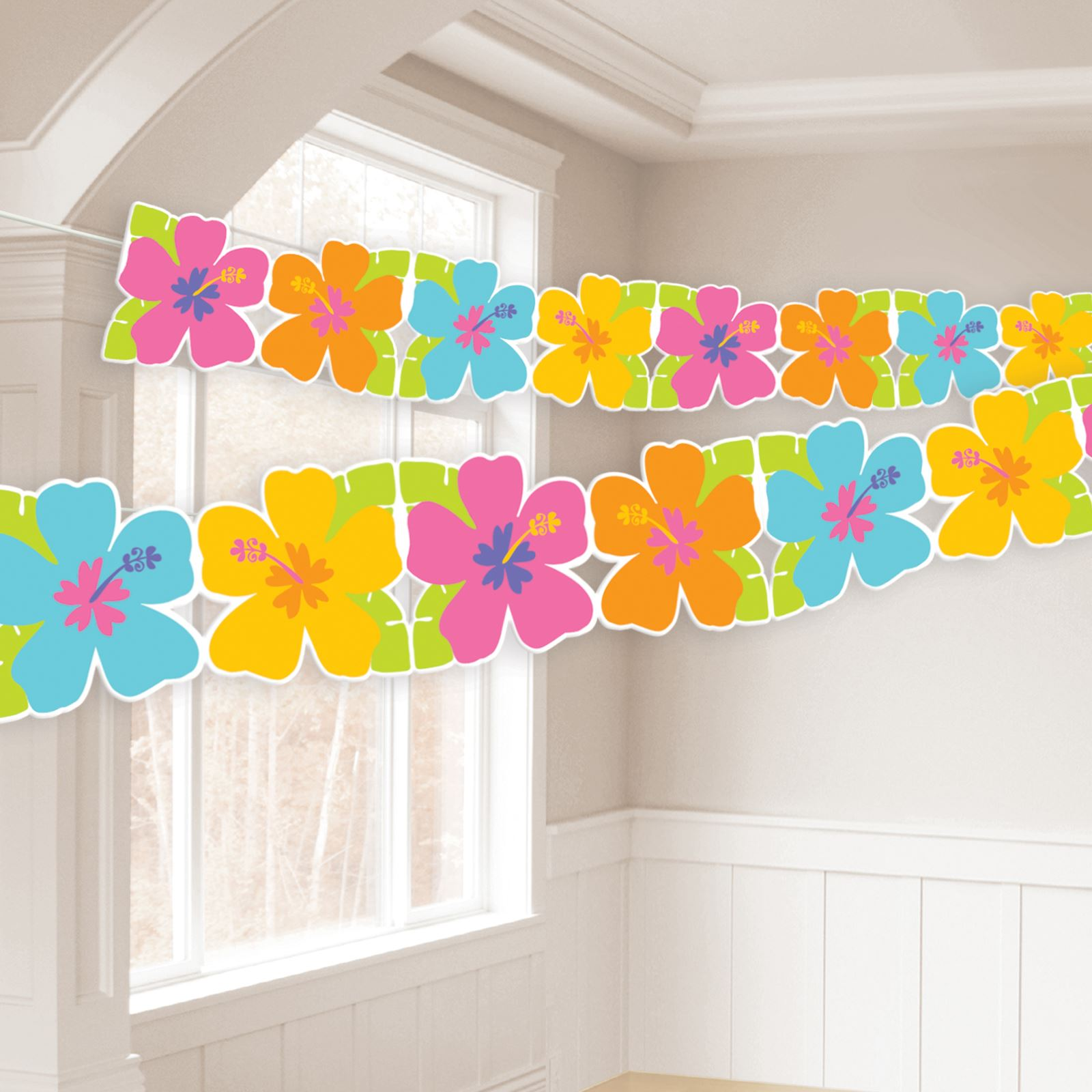 8ft Hawaiian Hibiscus Paper Garland Banner Bunting Tropical Flower