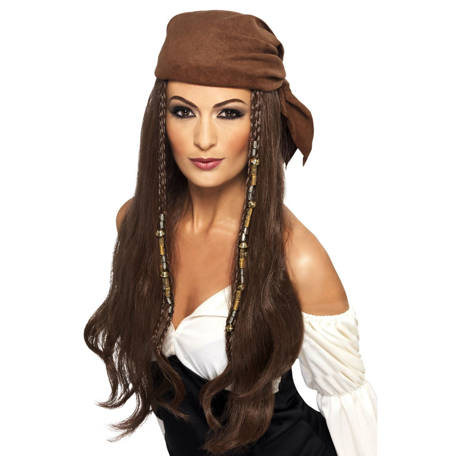 Caribbean Pirate Hat /& Attached Wig /& Beads Mens Fancy Dress Adult Accessory