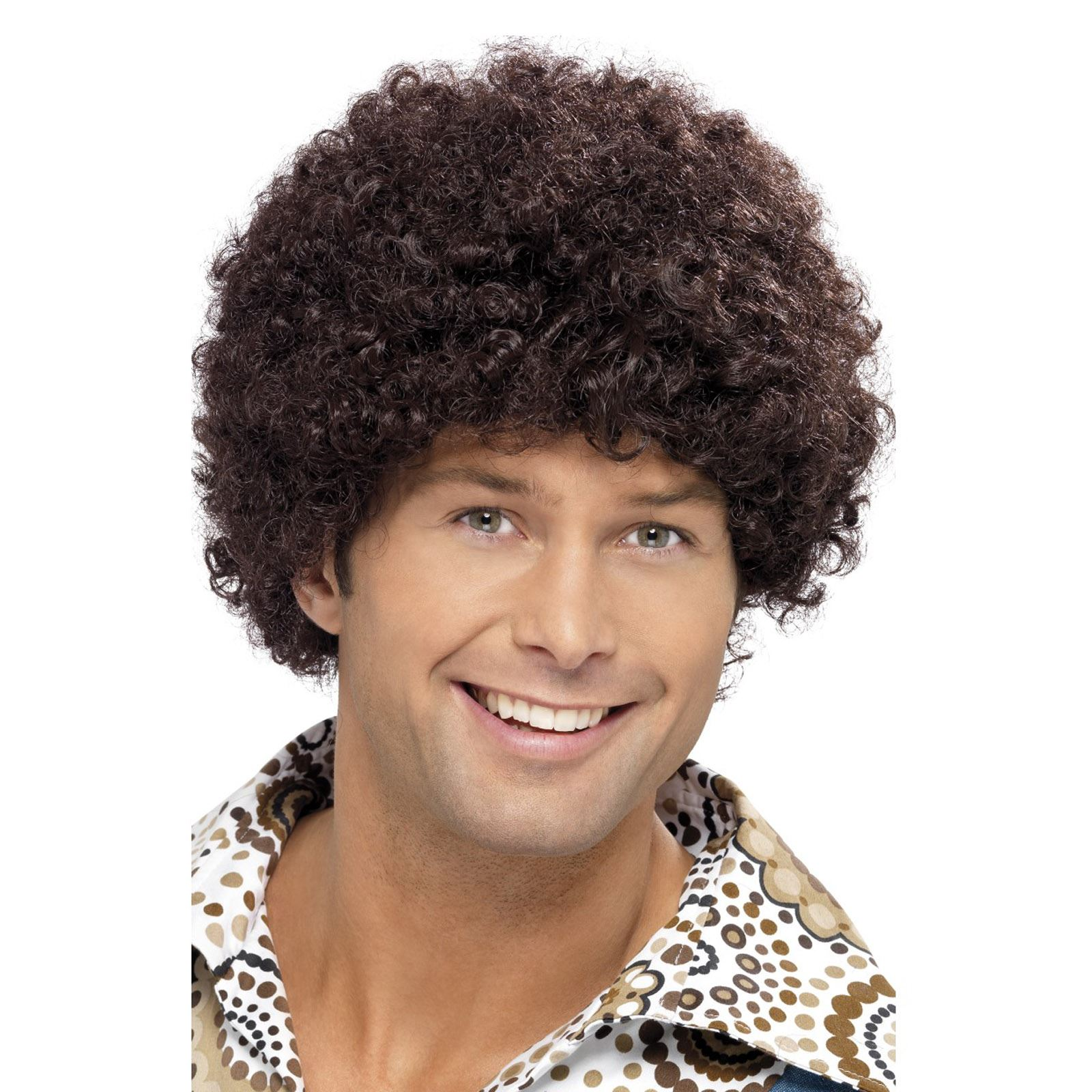 Brown 70/'s Disco Dude Curly Afro Wig