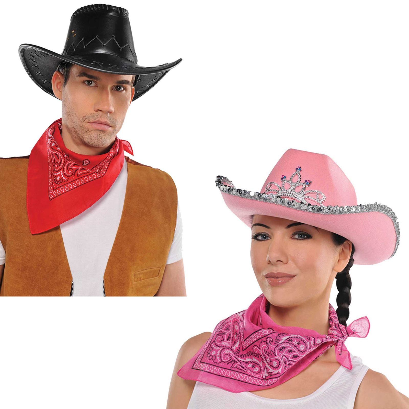 RED COWBOY NECKTIE FANCY DRESS BANDANA WILD WEST COWGIRL