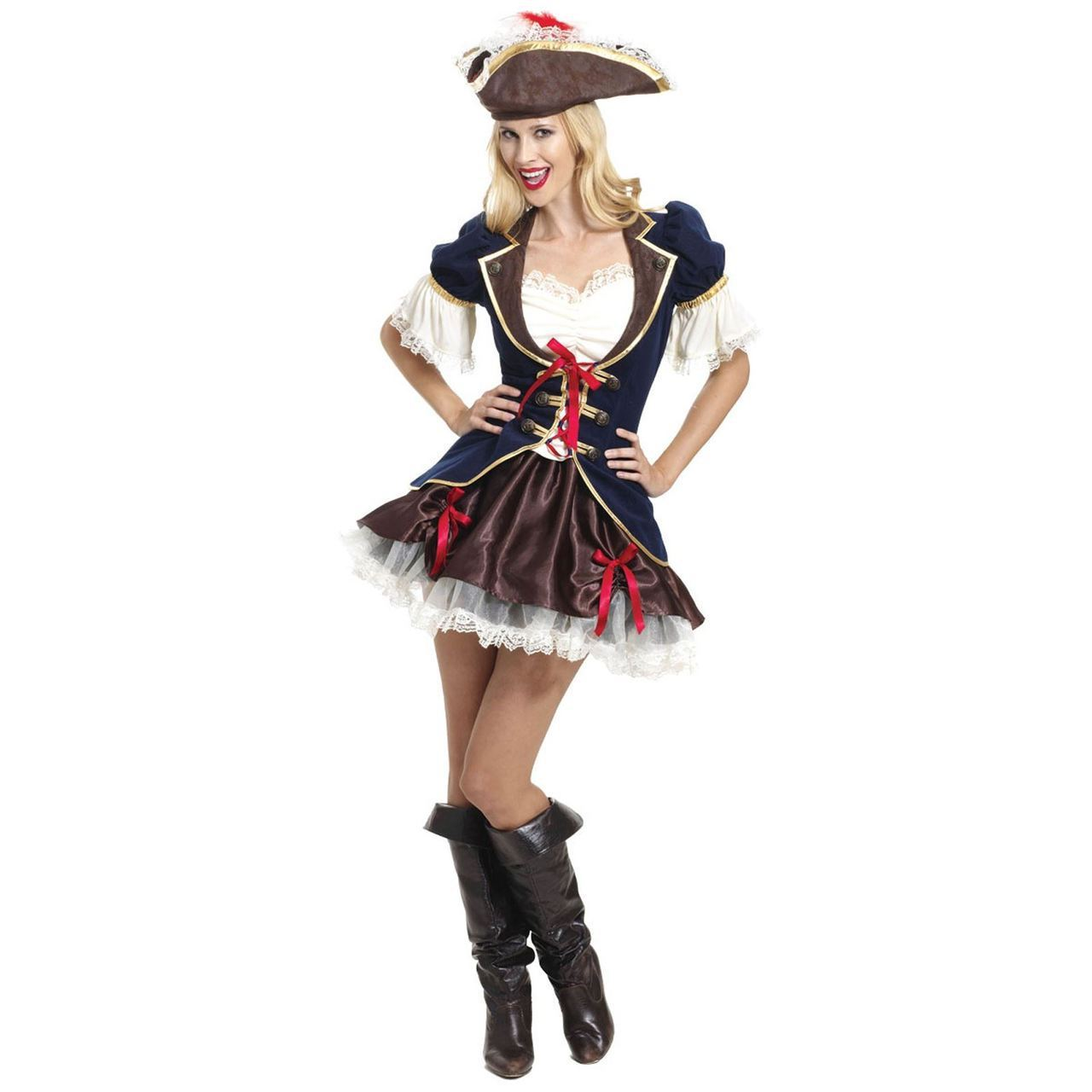 First Mate Pirate Ladies Fancy Dress Caribbean Buccaneer Adults Costume Outfit