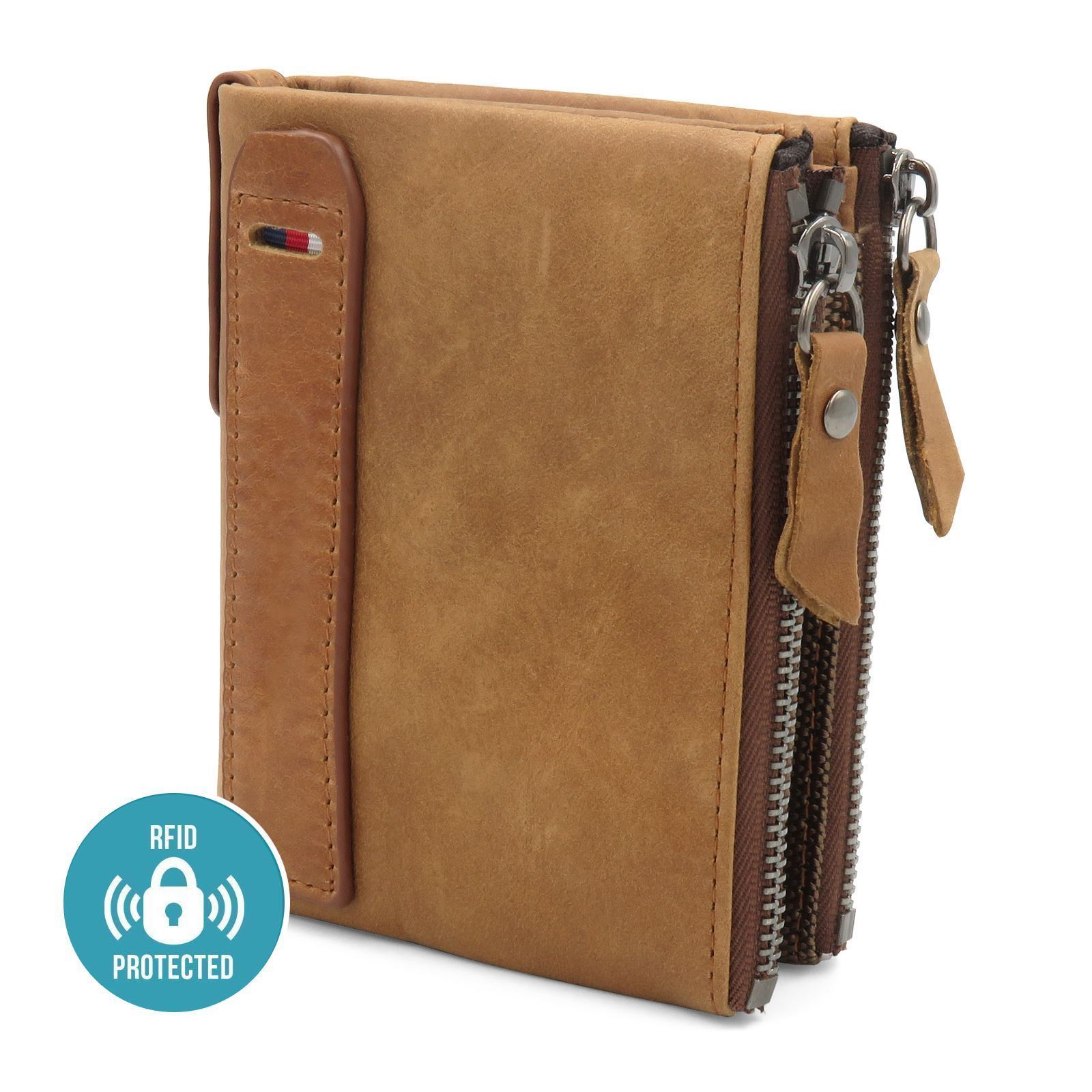 Mens Luxurious 100/% Genuine RFID SAFE Leather Wallet With Zip Cash Coin Pocket