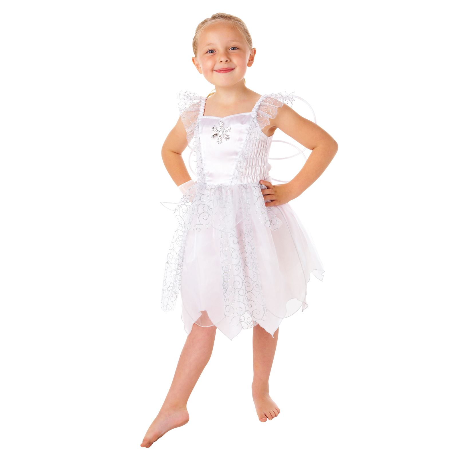 Frozen White Fairy Fancy Dress Costume  sc 1 st  eBay & Kids Girls Christmas White Snowflake Fairy Fancy Dress Costume ...