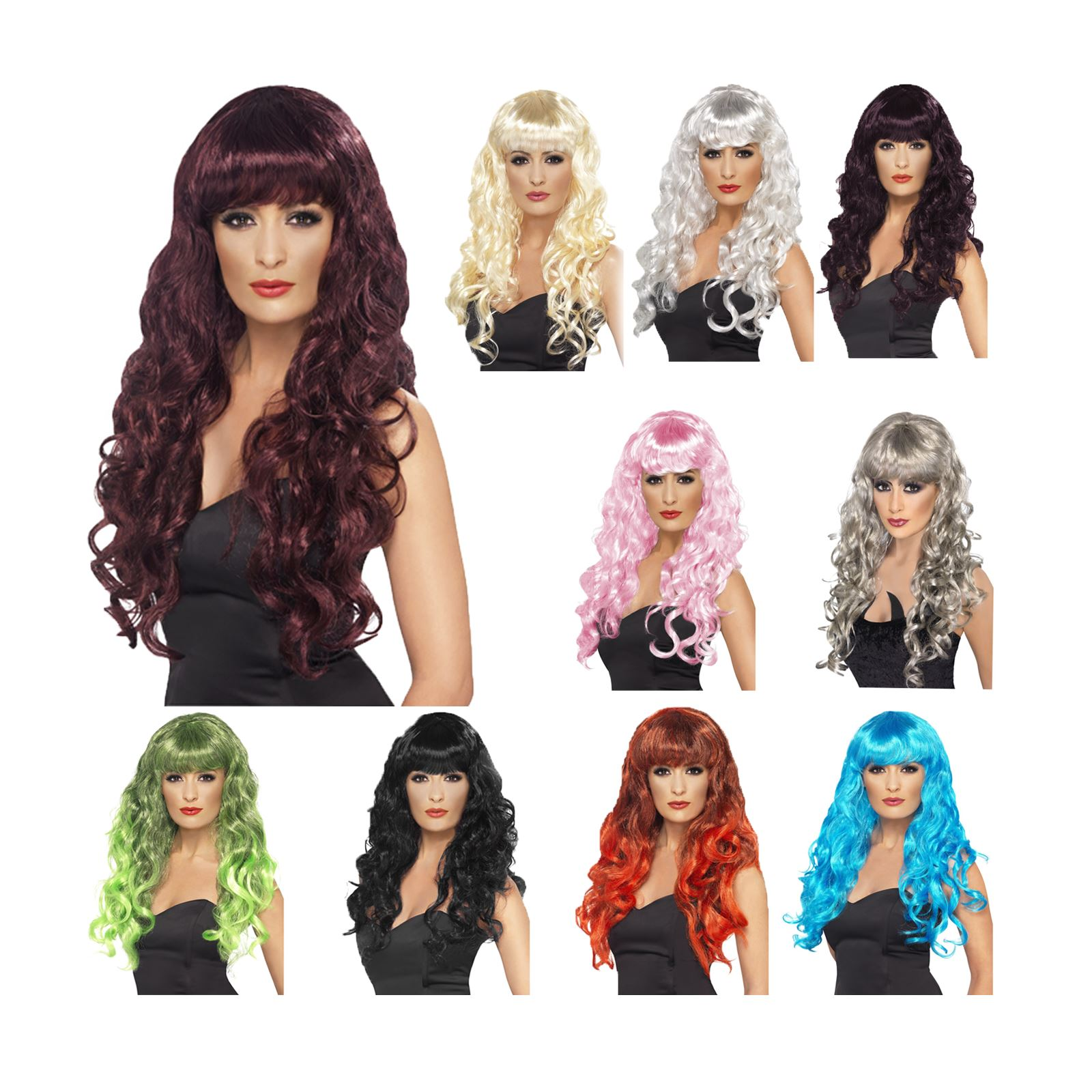 New Ladies Siren Wig Plum Purple Long Curly Gothic Halloween Fancy Dress Glamour