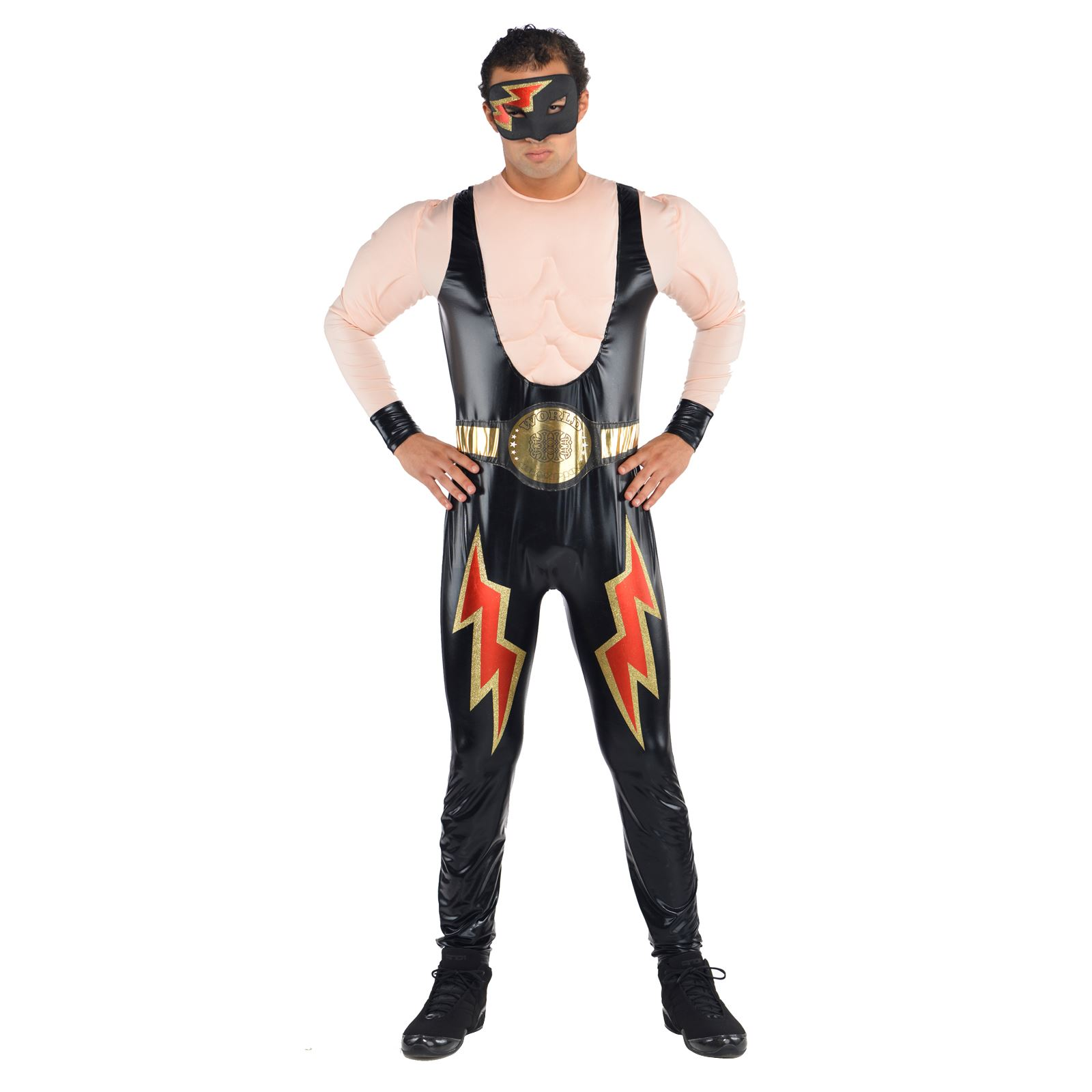 Wwe Wrestler Mens Fancy Dress Wrestling Party Adult Deluxe Jumpsuit