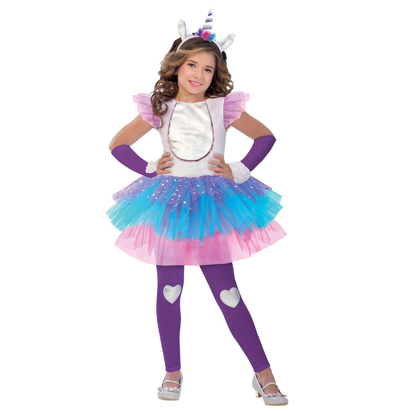 Kids Girls Fantasy Magical Unicorn Pegasus Horn Glitter Tutu Fancy Dress Costume