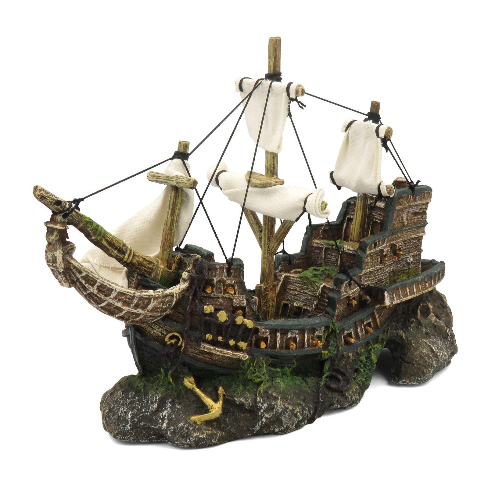 Moss Covered Small Boat Ship Wreck Aquarium Ornament Fish