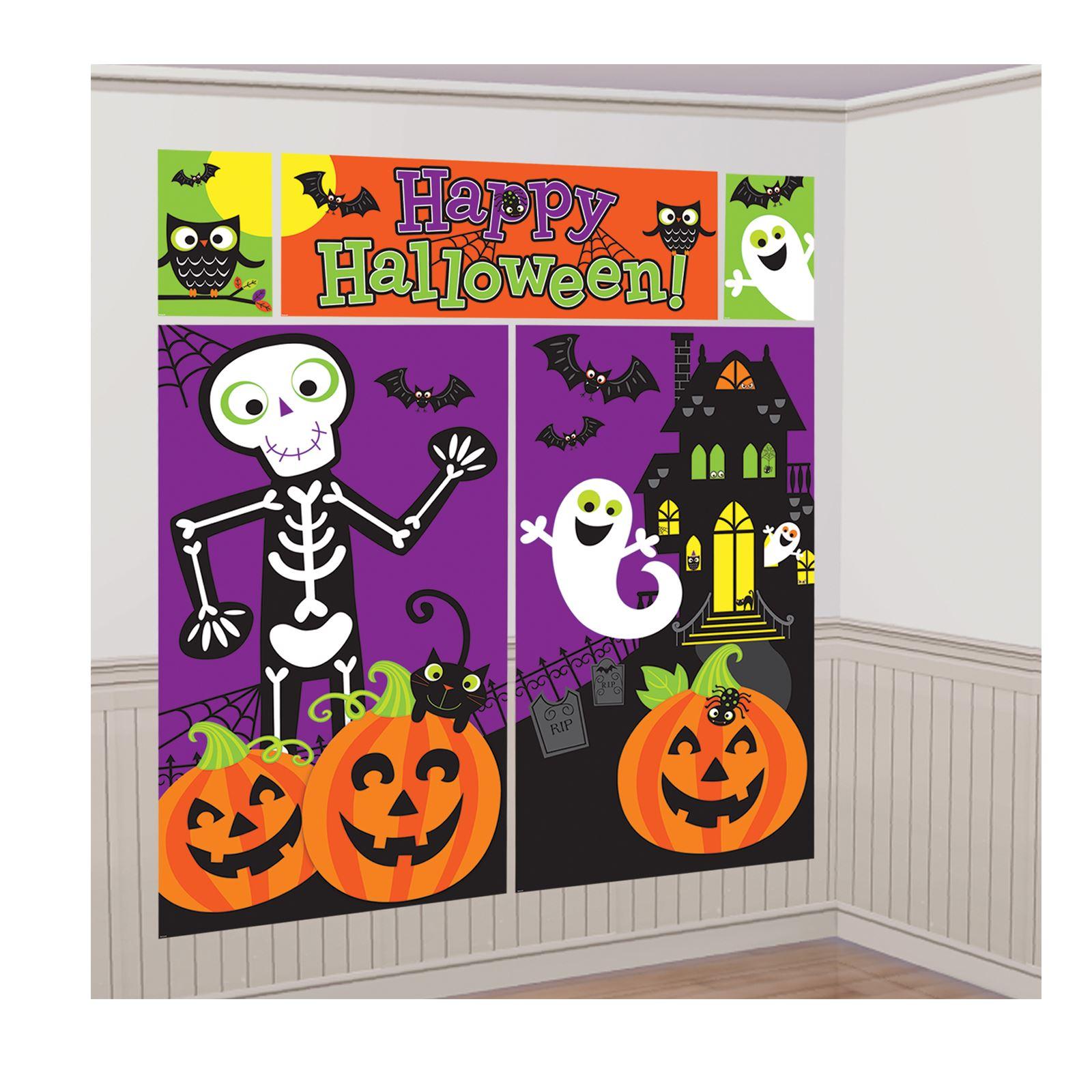 Details about Halloween freundlich Monster Scene Setters BACKDROP Wall Raumdekoration Kinder