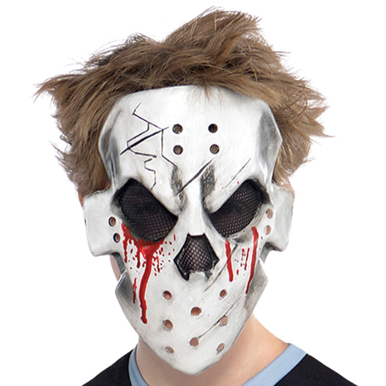 Boy Teen Halloween Ice Zombie Bloody Face Off Fancy Dress Costume ...