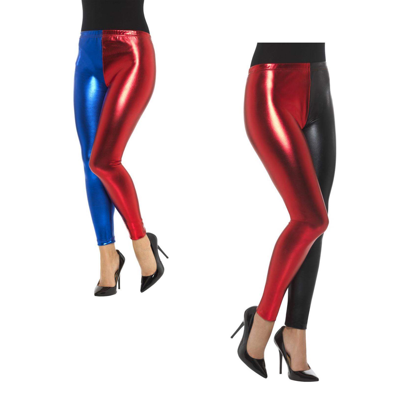 Ladies Metallic Harlequin Leggings Womens Adult Cosplay Halloween Fancy Dress