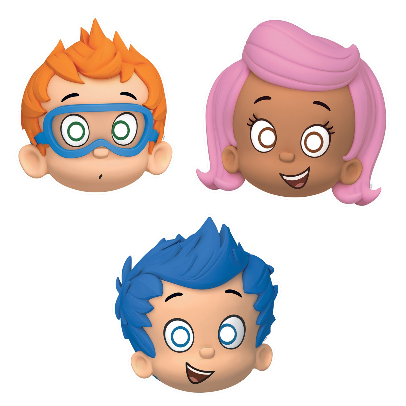 8 bubble guppies face masks kids party molly nonny puppy gil