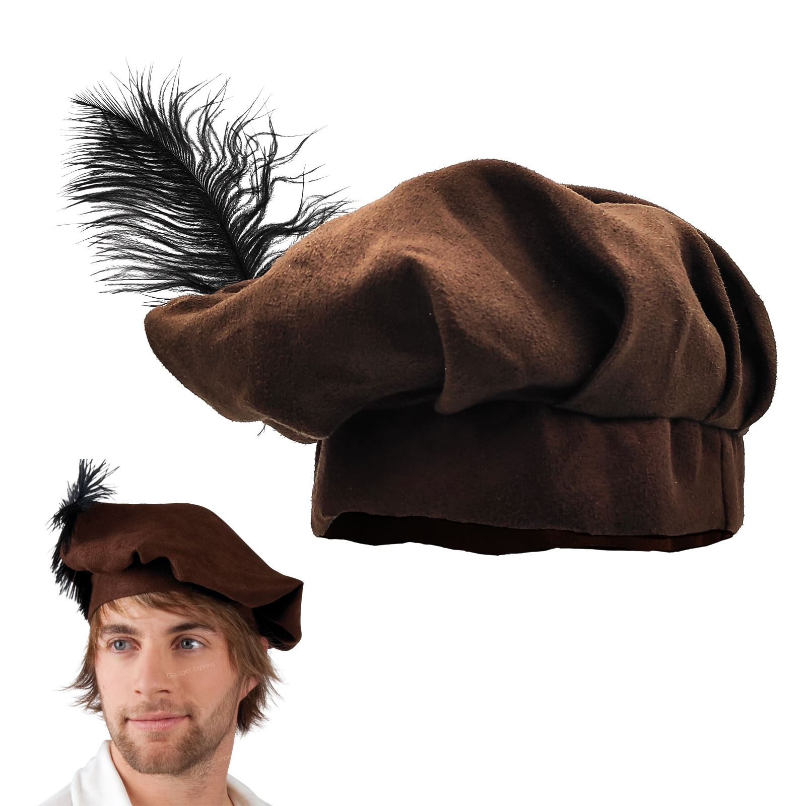 46b9b62c876f8 Details about Boys Brown Medieval Friar Tuck Tudor Fancy Book Week Dress  Hat Beret Feather