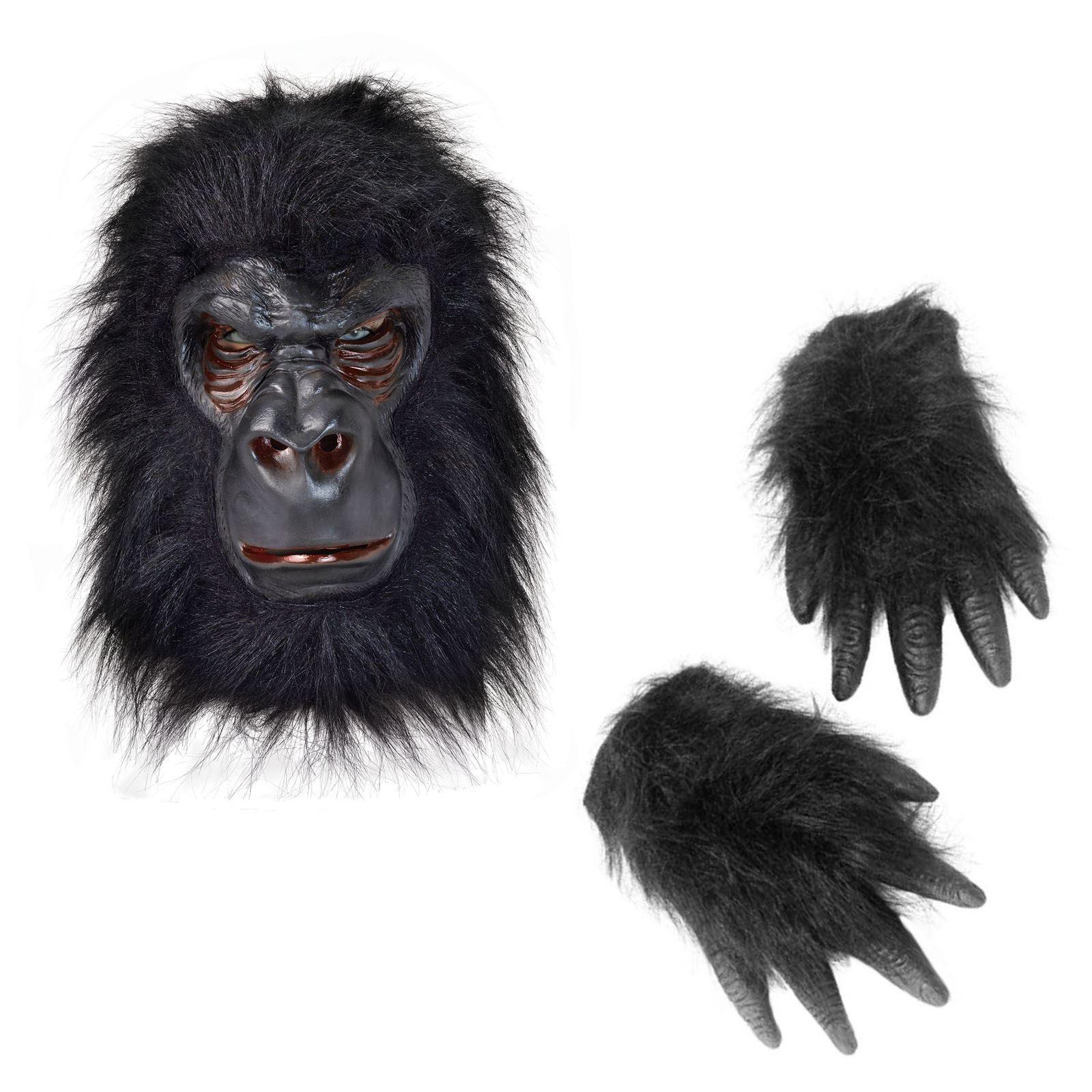 Rubber Gorilla Mask and Gorilla Hand Gloves  sc 1 st  eBay & Tarzan Rubber Gorilla Mask and Hands Zoo Animal Fur Latex Monkey Ape ...