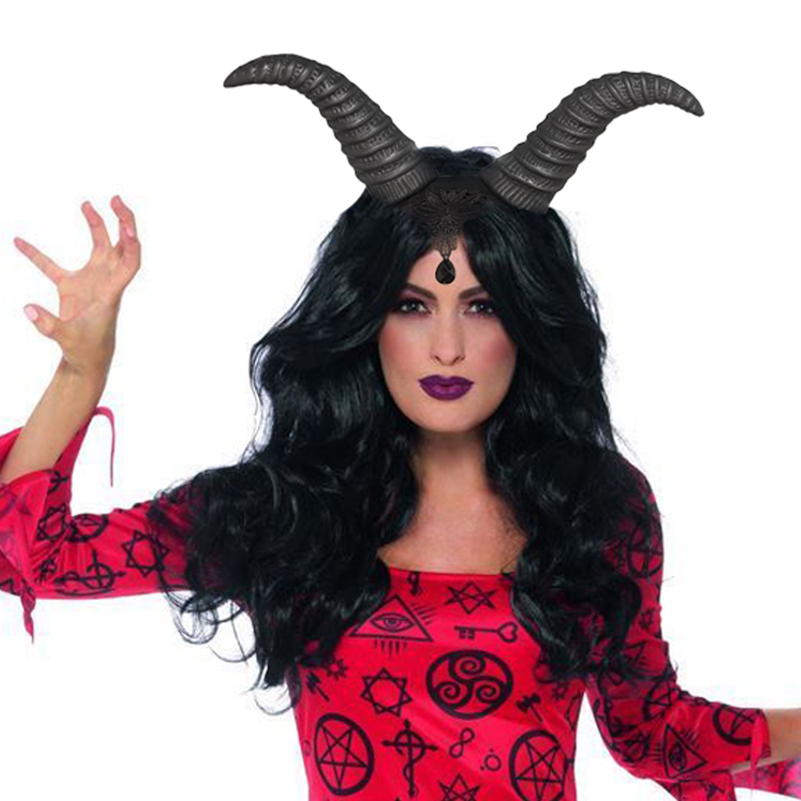 Halloween Costume 303.Details About Adult Ladies Occult Devil Demonic Witchcraft Halloween Costume Demon Horns