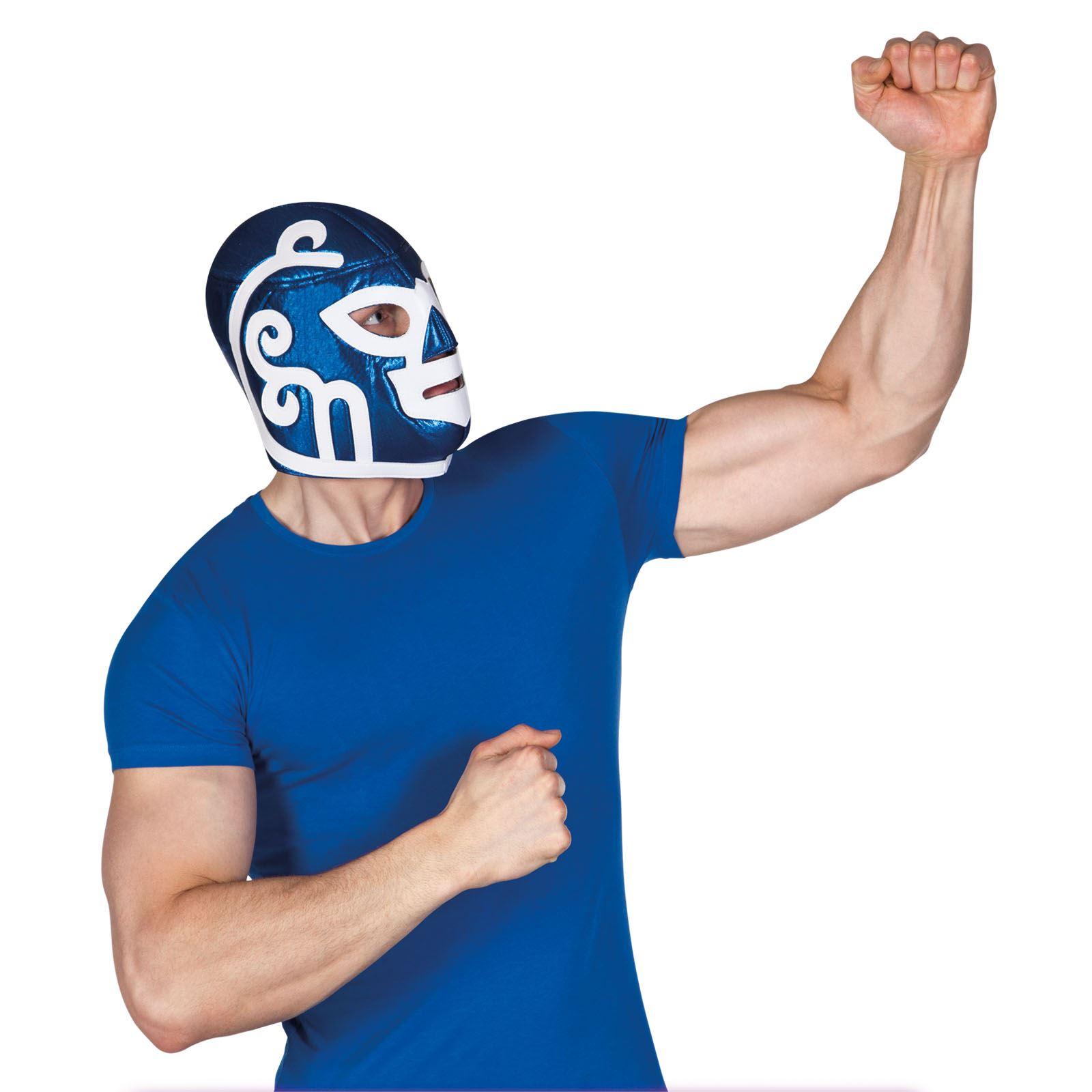 Adult-Mens-Mexican-Wrestler-Wrestling-Mask-WWE-Libre-Fight-Fancy-Dress-Accessory miniatuur 4