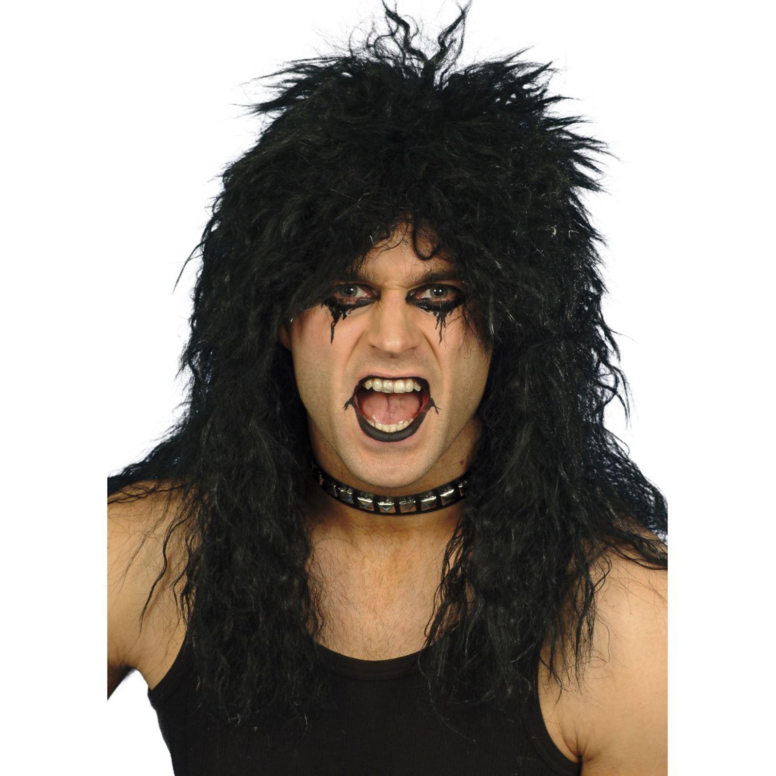 Adults 80s Hard Rocker Glam Metal Rockstar Wig Slash Kiss