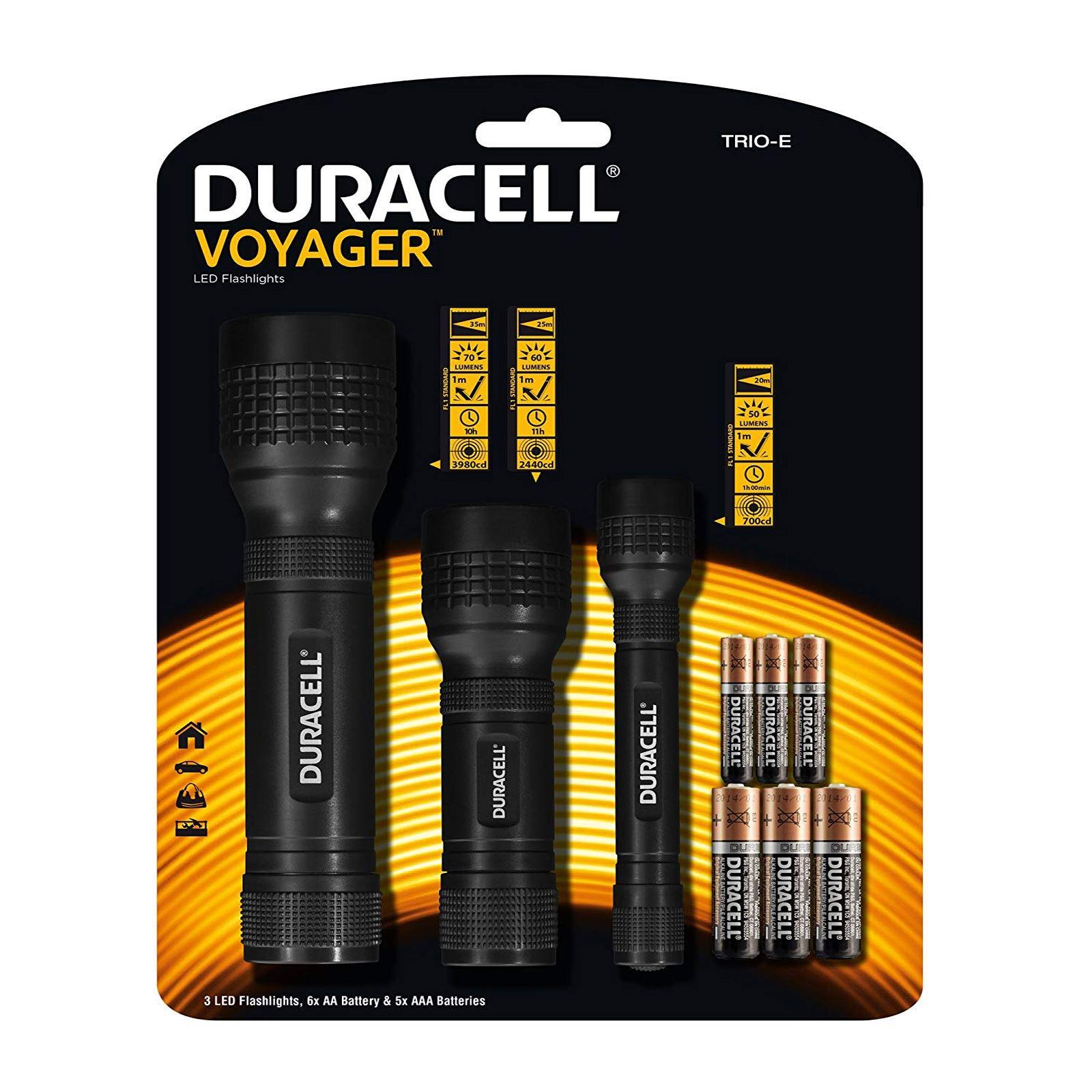 DuracellTravel SetTrio Pack VoyagerLED TorchFlashlight