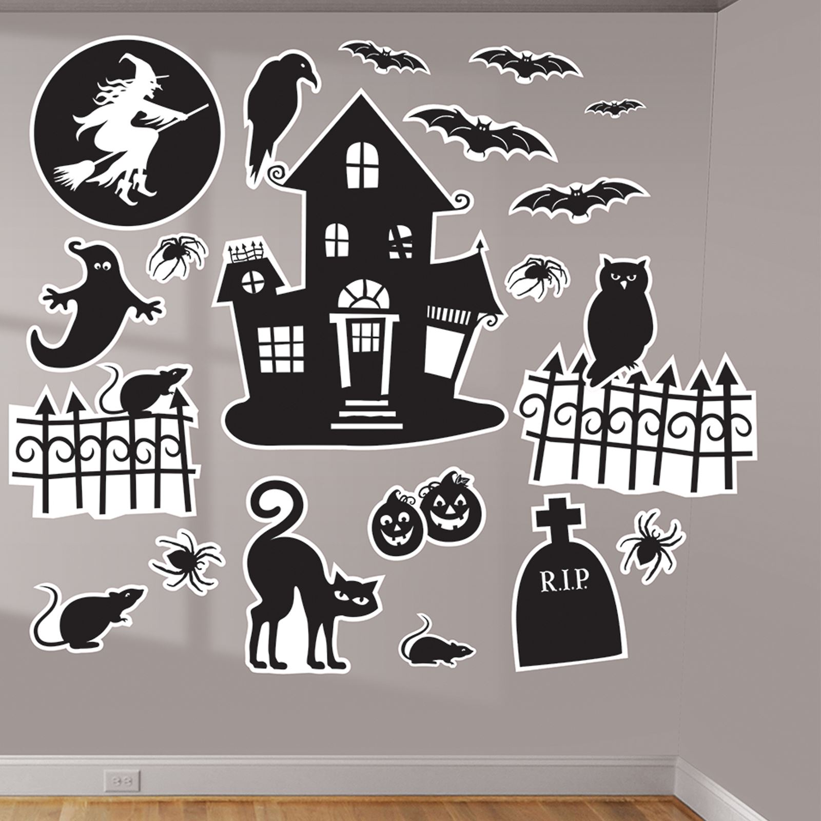 Details about Halloween Family Friendly Wall Art Vinyl Witches Decorative Stickers Silhouette