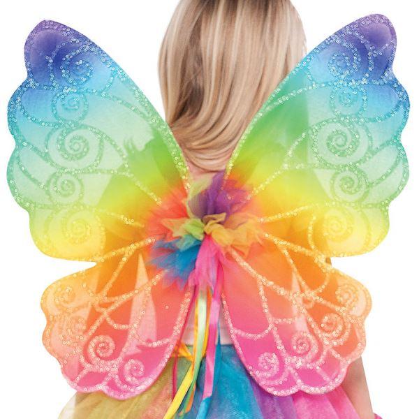 Kids Rainbow Fairy Wings and Wand Fancy Dress Costume Accessory Kit Book Week