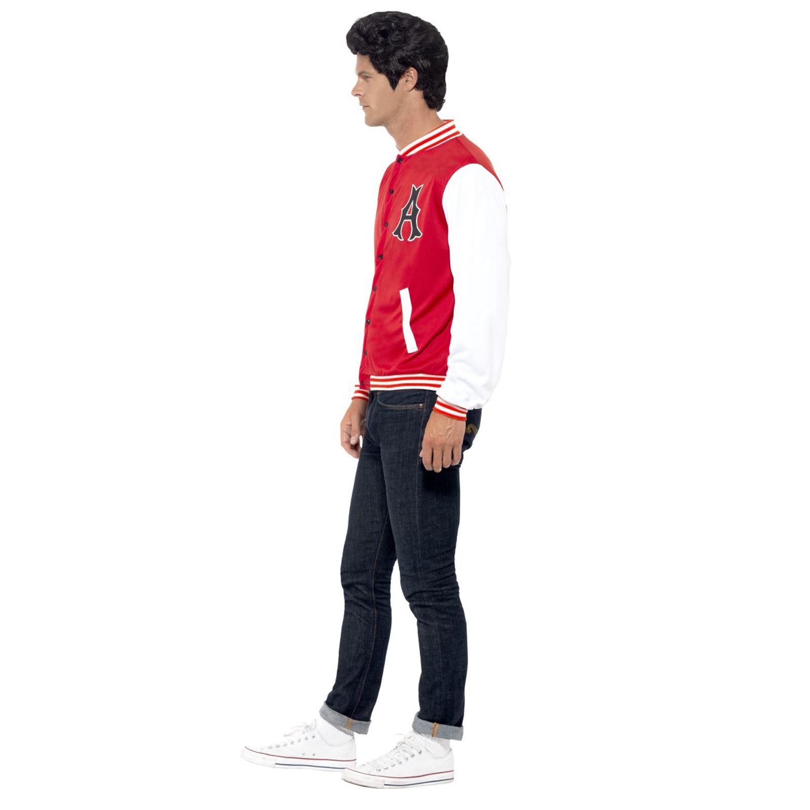 Mens Boys Unisex 50/'s College Jock Letterman Jacket Fancy Dress School Costume