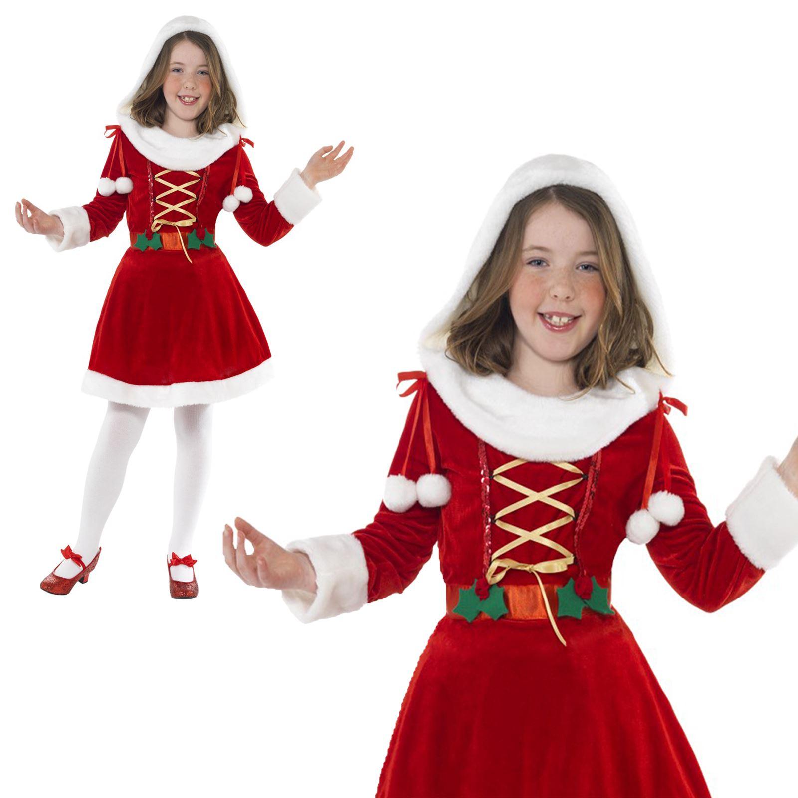 516bc09f9 Kids Girls Deluxe Little Miss Santa Mrs Claus Christmas Fancy Dress ...